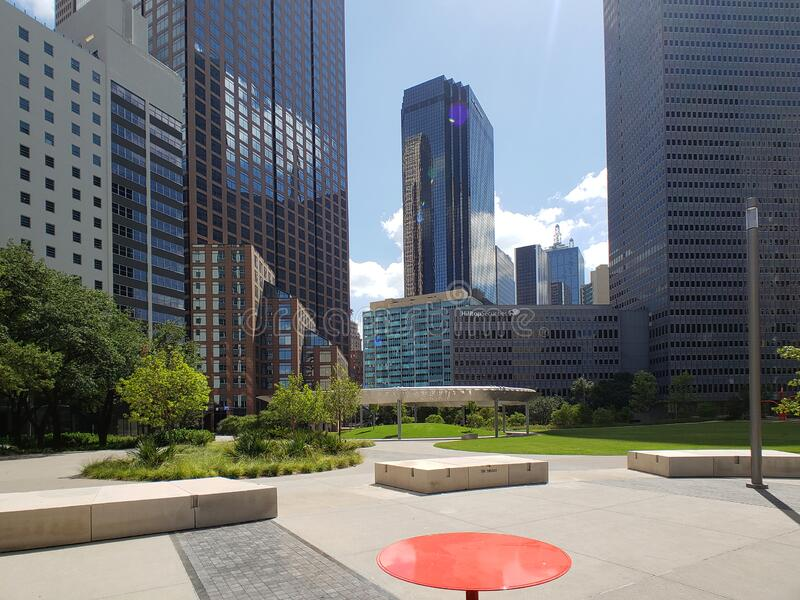 Skyscrapers and Pacific plaza in downtown of city Dallas TX USA royalty free stock photo