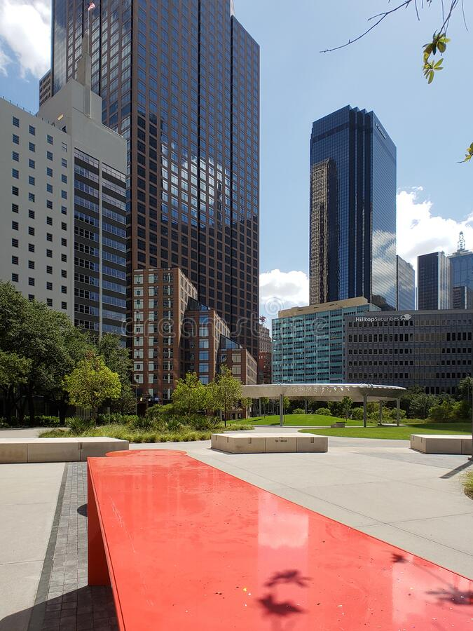 Skyscrapers and Pacific plaza in downtown of city Dallas TX USA royalty free stock photos