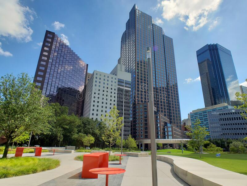 Skyscrapers and Pacific plaza in downtown of city Dallas TX USA stock photography