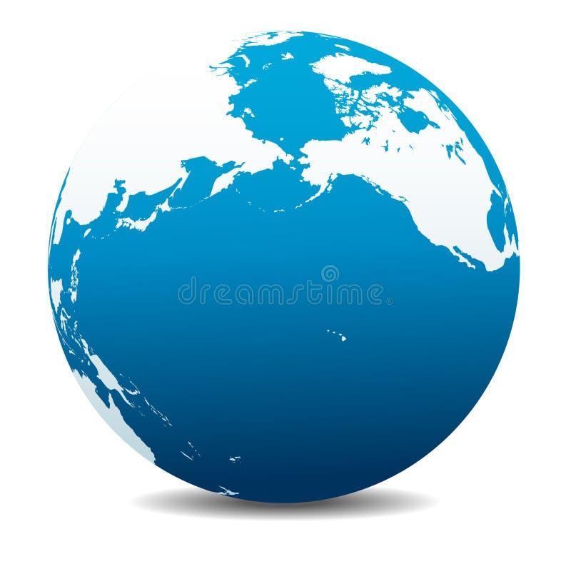 Pacific Rim North America, Canada, Siberia Russia, Hawaii, Planet Earth Icon. Pacific Rim North America, Canada, Siberia Russia and Hawaii Vector Map Icon of the stock illustration