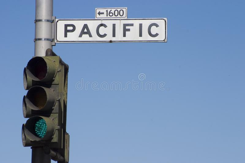 Pacific Road Sign stock photo