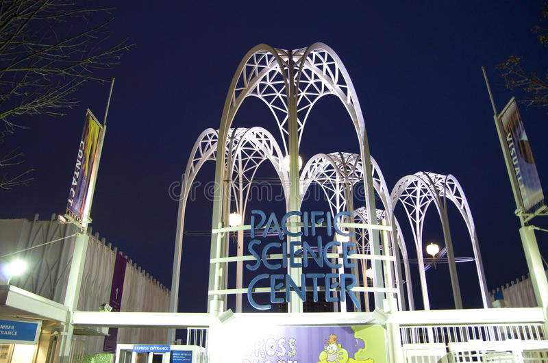 Pacific Science Center night scence. Nice lighting of the metal arches in Pacific Science Center, Seattle stock images