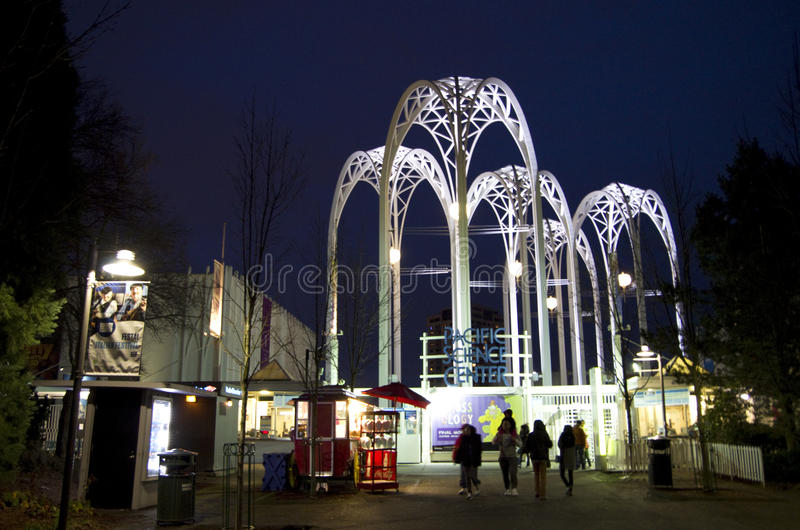 Pacific Science Center night scence. Nice lighting of the metal arches in Pacific Science Center, Seattle royalty free stock photo