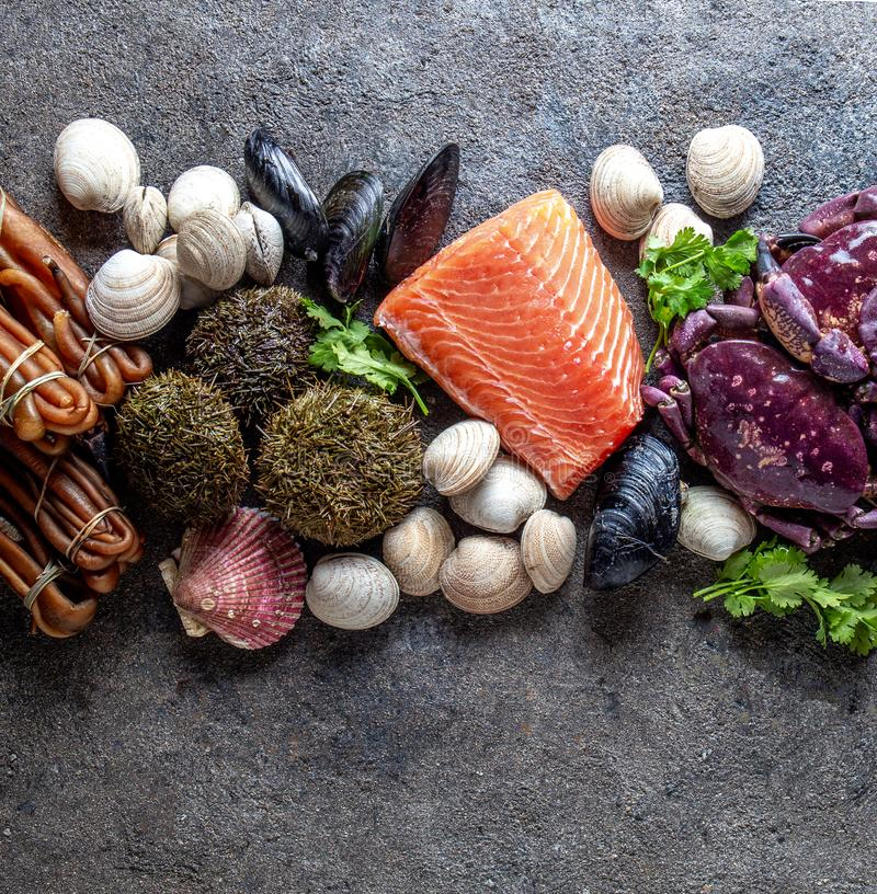 PACIFIC SEAFOOD. Fresh salmon, crabs ostions clams mussels, seaweed cochayuyo, sea urchins. Food background with copy stock images