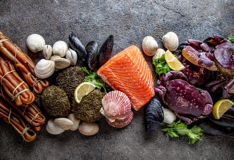 PACIFIC SEAFOOD. Fresh salmon, crabs ostions clams mussels, seaweed cochayuyo, sea urchins. Food background with copy stock photo