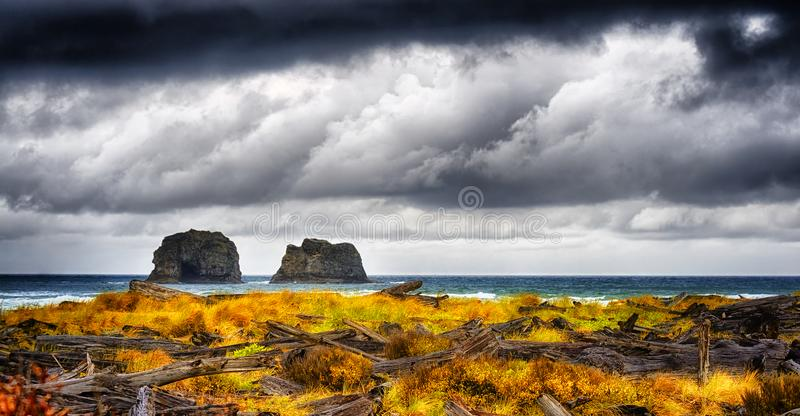 Pacific Storm. Storm clouds darken skies above large rocks surrounded by the sea seen from a driftwood strewn beach from previous storms along Rockaway Beach royalty free stock image