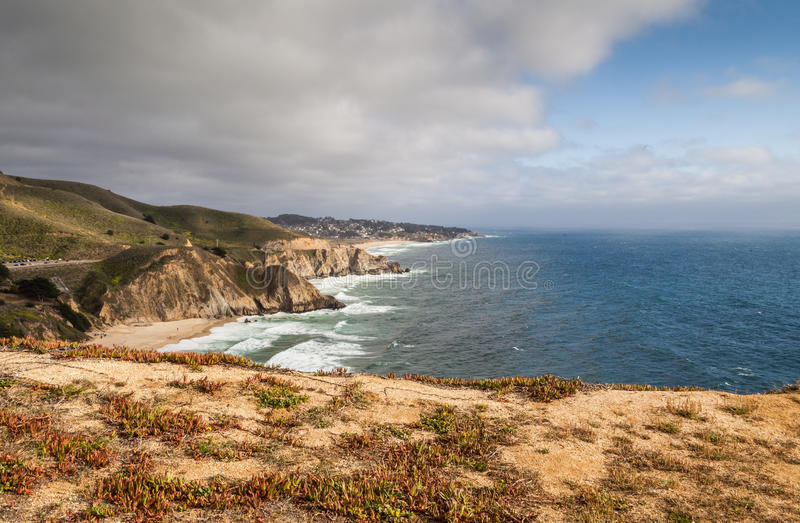 Pacifica view from the Devil Slide Trail royalty free stock photography