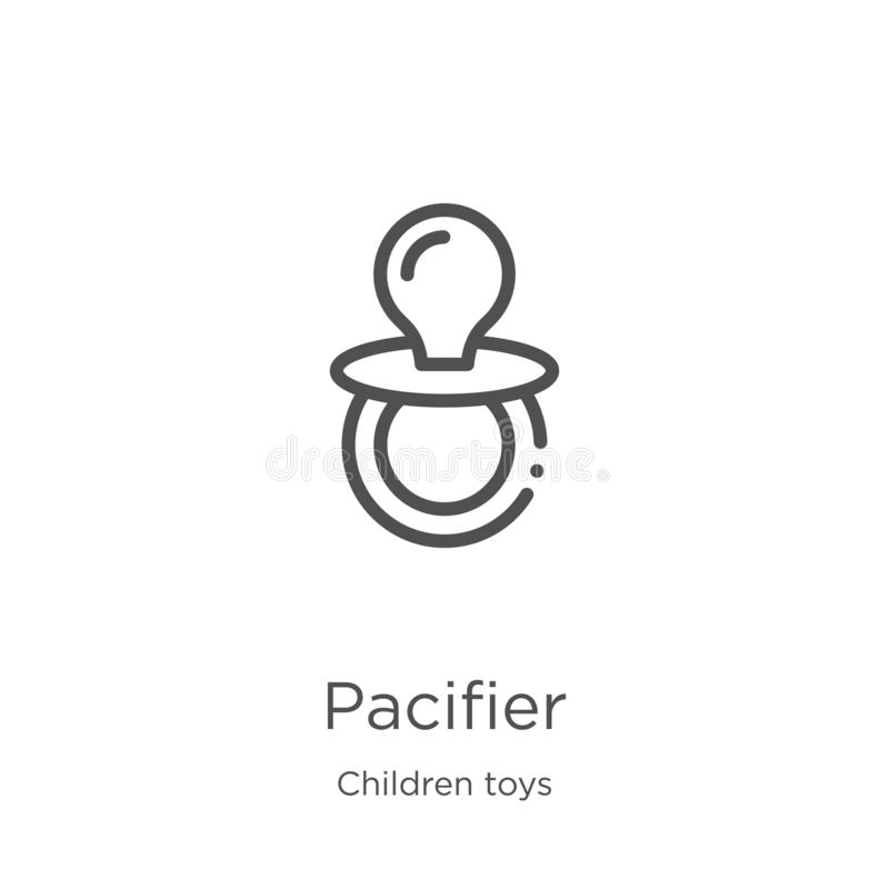 Pacifier icon vector from children toys collection. Thin line pacifier outline icon vector illustration. Outline, thin line. Pacifier icon. Element of children royalty free illustration