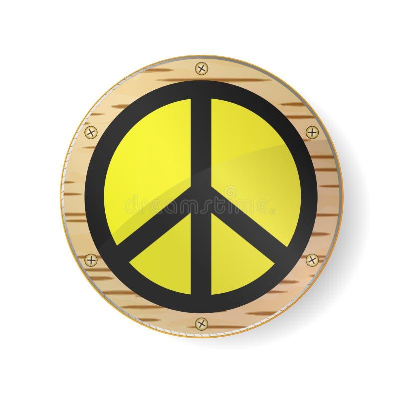 Pacifista del segno, simbolo di pace Il hippy nero firma dentro la struttura dell'oro, il cerchio con la corteccia di betulla ed  illustrazione di stock