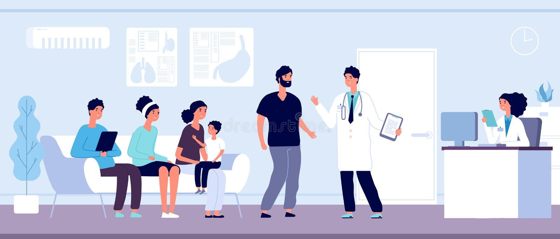 Pacjenci W lekarki poczekalni Ludzie czekają salę w klinice przy szpitalnym przyjęciem, hospitalizujący persons, opieka zdrowotna ilustracja wektor