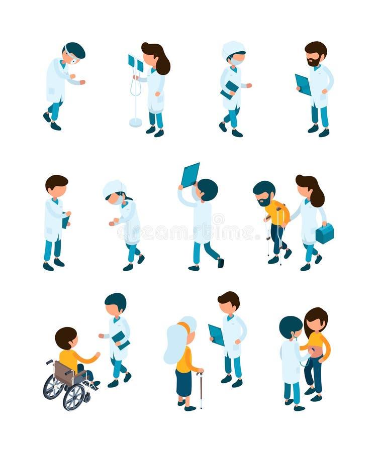 Pacjent i lekarki Personel medyczny i pacjenci w klinika recepcyjnych szpitalnych pracownikach pomagamy usługowej wektorowej opie ilustracja wektor