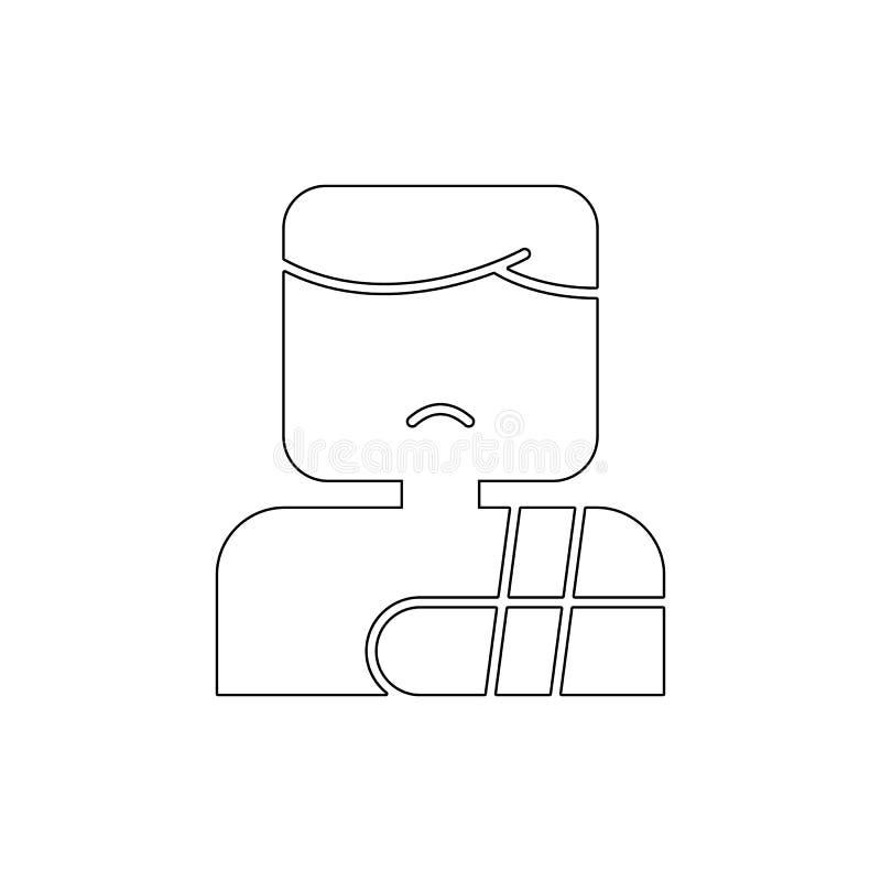 Pacjent z ?aman? ko?? konturu ikon? Znaki i symbole mog? u?ywa? dla sieci, logo, mobilny app, UI, UX royalty ilustracja