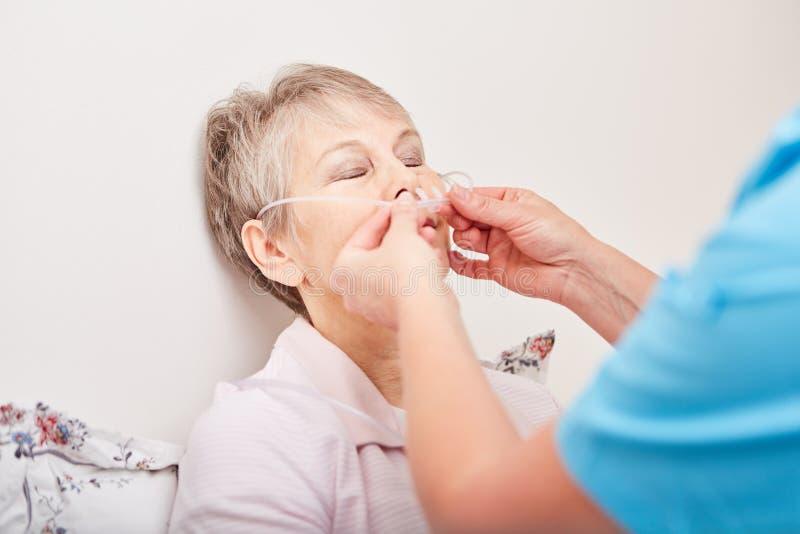 Pacjent z nasogastric terapią zdjęcia stock