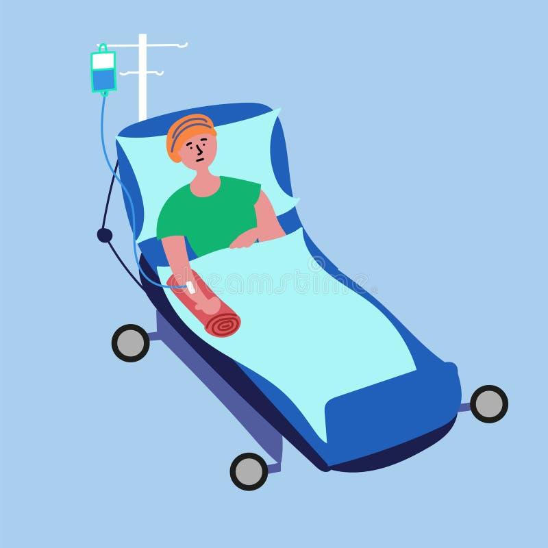 Pacjent z nowotworem kłama na łóżku szpitalnym i przechodzi medyczną chemoterapii procedurę ilustracja wektor