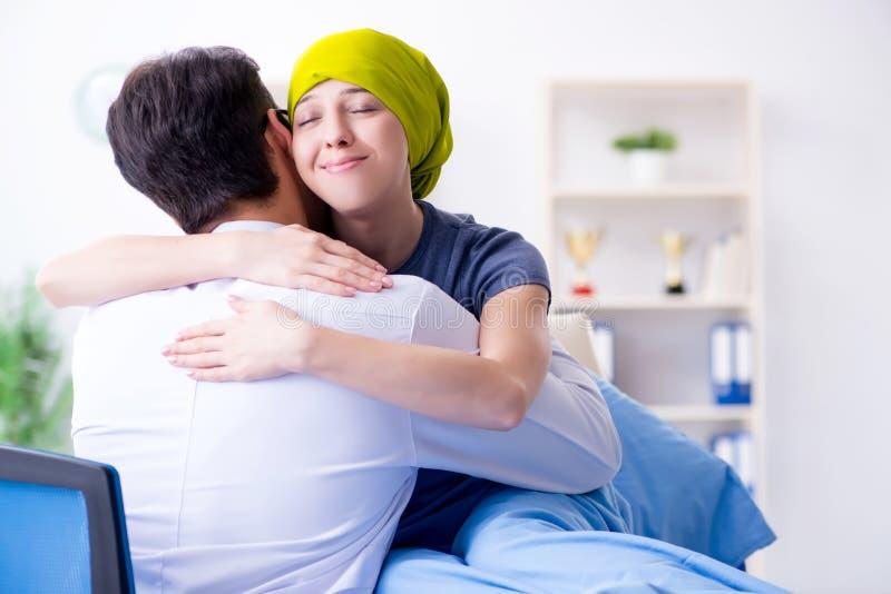 Pacjent z nowotworem odwiedza lekarkę dla medycznej konsultaci w clini obrazy stock