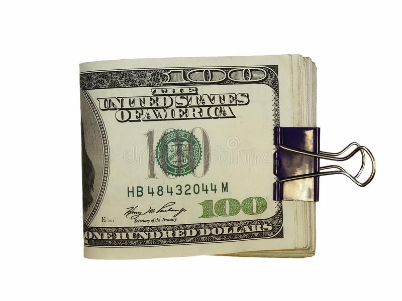 Download Pack $100 Dollar Bills And Paper Clip Isolate Stock Photo - Image: 18188722