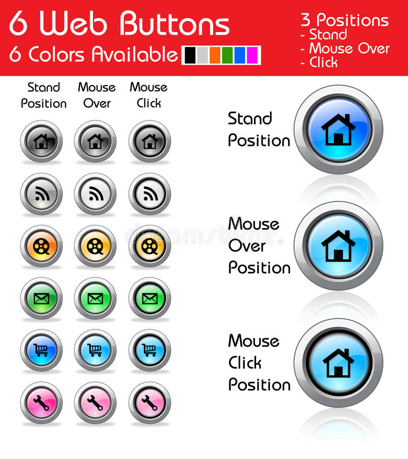 Download Pack of 6 web buttons stock vector. Illustration of black - 21956444