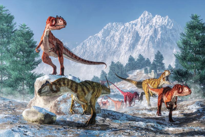 Allosaurus Migration. A pack of allosauruses are on the moved through a snowy landscape. These dinosaurs are not used to cold weather. So these predators have vector illustration