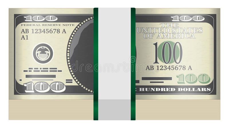 Pack of $100 banknotes on a white background stock illustration