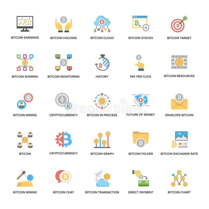 A Pack of Bitcoin and Cryptocurrency Flat Icons stock illustration