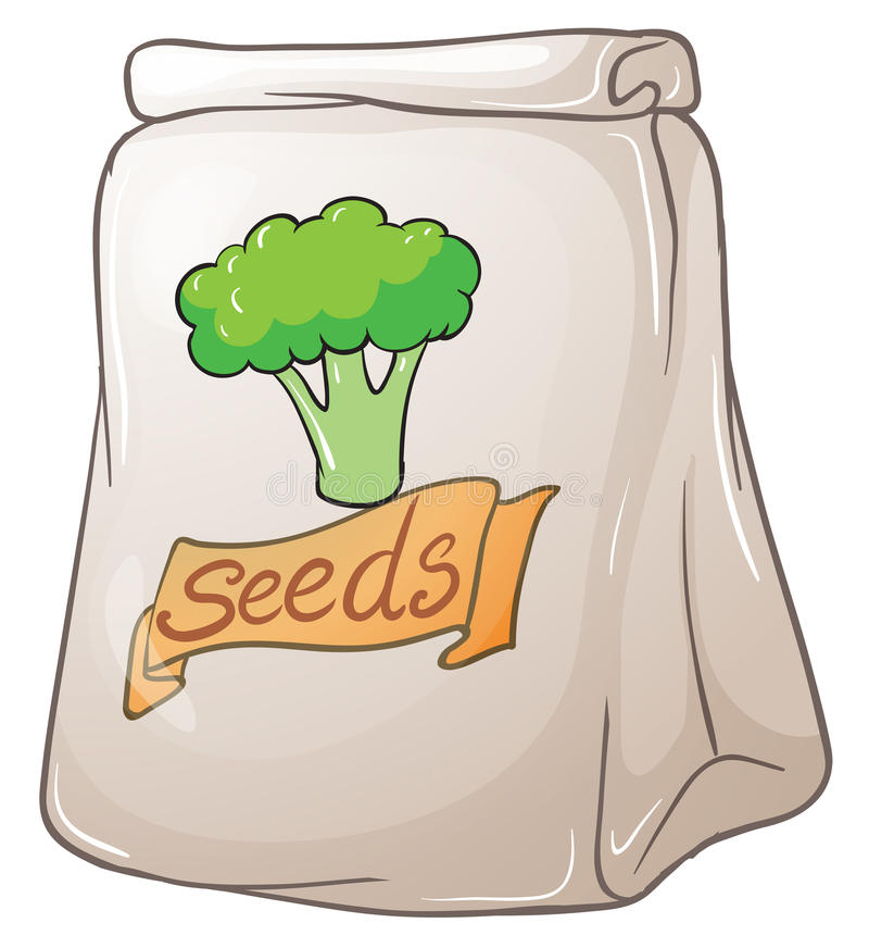 A pack of broccoli seeds. Illustration of a pack of broccoli seeds on a white background stock illustration