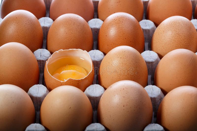 Pack of brown chicken eggs in cardboard container. One egg is broken royalty free stock photo
