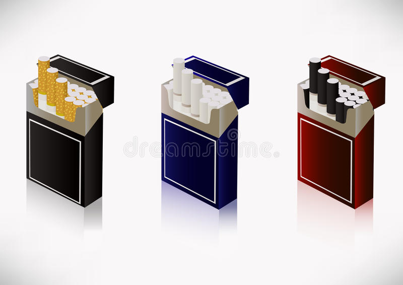 A pack of cigarettes. Three packs of cigarettes are depicted on a white background vector illustration