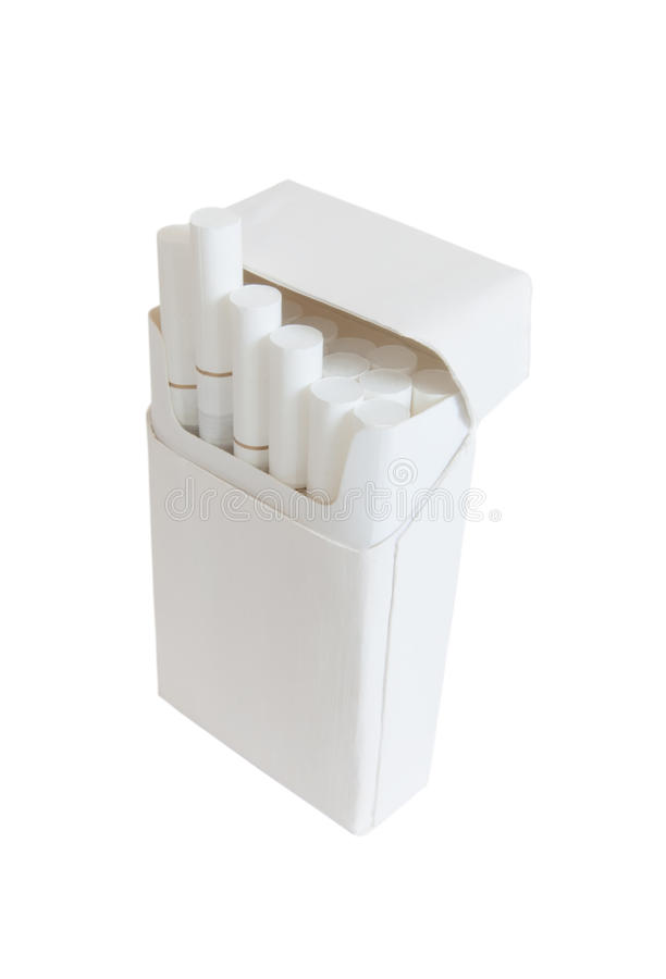 Pack of cigarettes with filter white color isolated on white royalty free stock photography