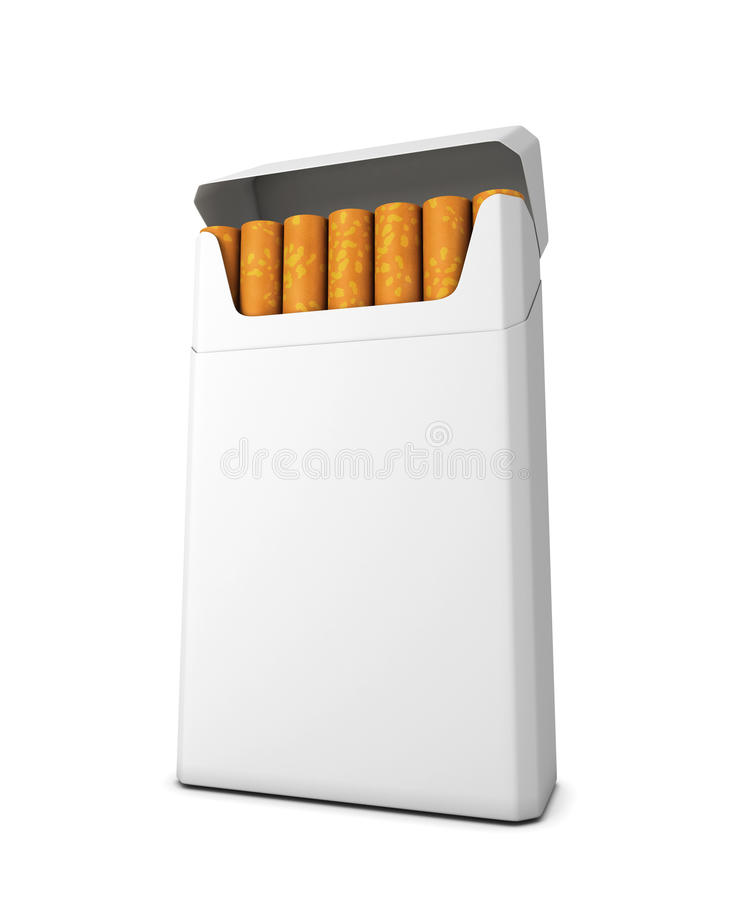 Pack of cigarettes on a white background stock illustration