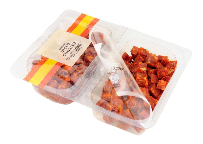 Pack Of Diced Chorizo Salami royalty free stock images