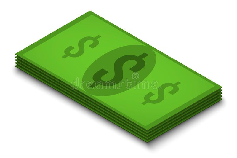 Pack of dollars bills on a white background, isolate, isometry vector illustration