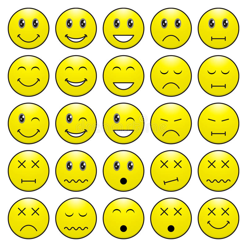 Download Pack Of Emoticons With Various Emotions Expression Stock Vector - Image: 20477937