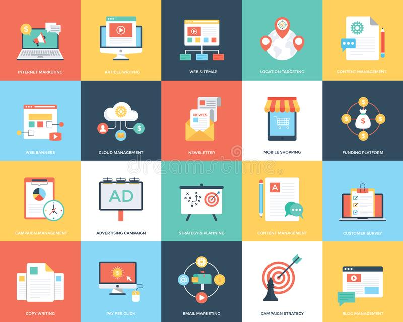 A Pack Of Digital Marketing Flat Vector Illustration. This pack encloses a wide range of digital marketing illustrations like internet marketing, content stock illustration