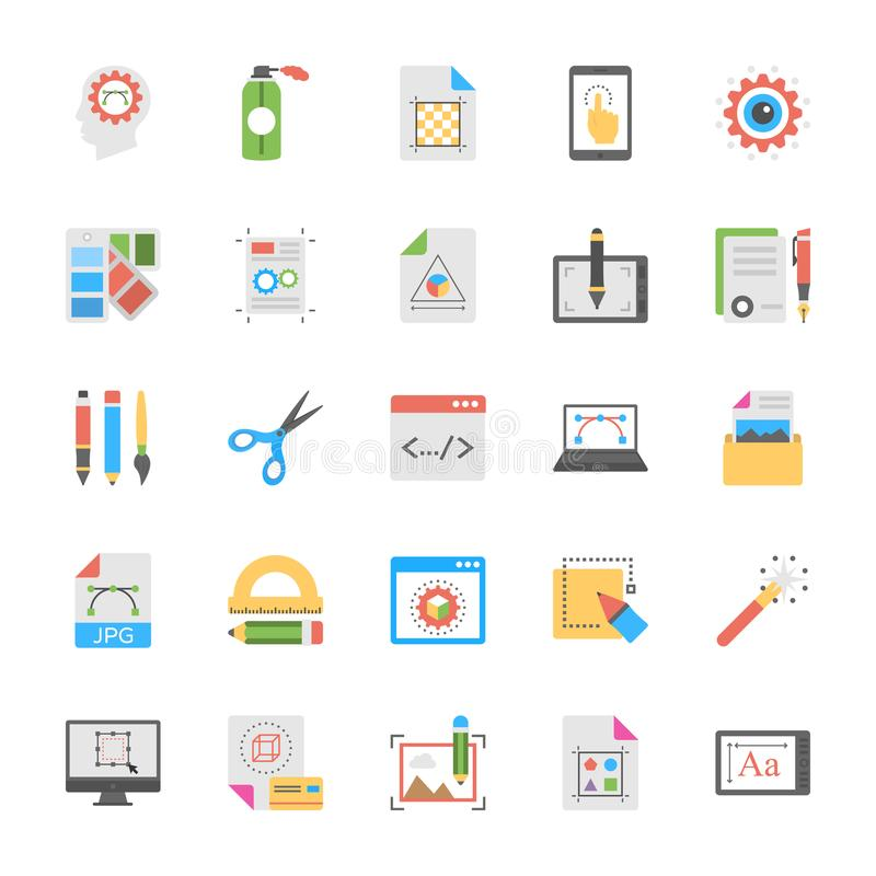 Art and Design Flat Icons Set vector illustration