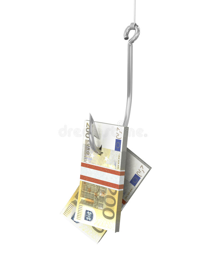 Download Pack Of Euro On A Fishing Hook Stock Illustration - Image: 23200084