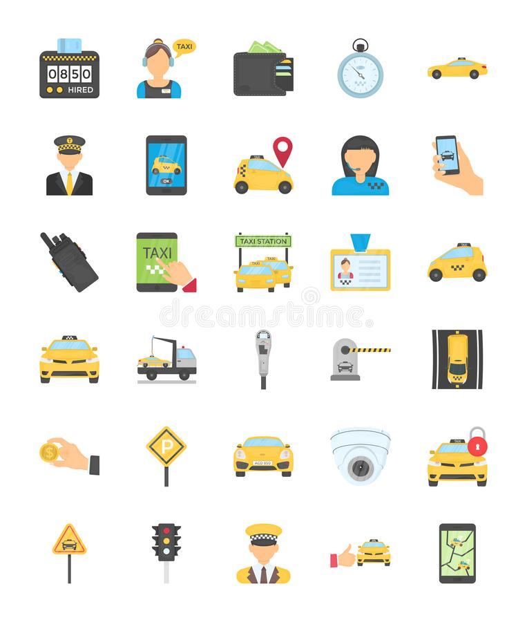 Taxi Services Flat Icons. A pack filled with roadside symbols, navigation apps, map devices, dressed chauffeurs, parking sign, no parking signs, payments, wallet vector illustration