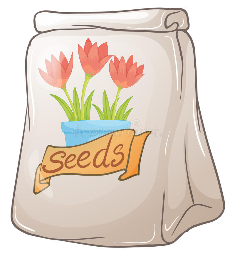 A pack of flower seeds. Illustration of a pack of flower seeds on a white background stock illustration