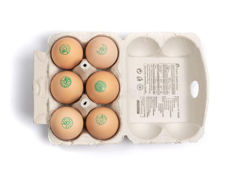 Pack of 6 Fresh Chicken Bio Eggs in Polish Carrefour Isolated stock photo