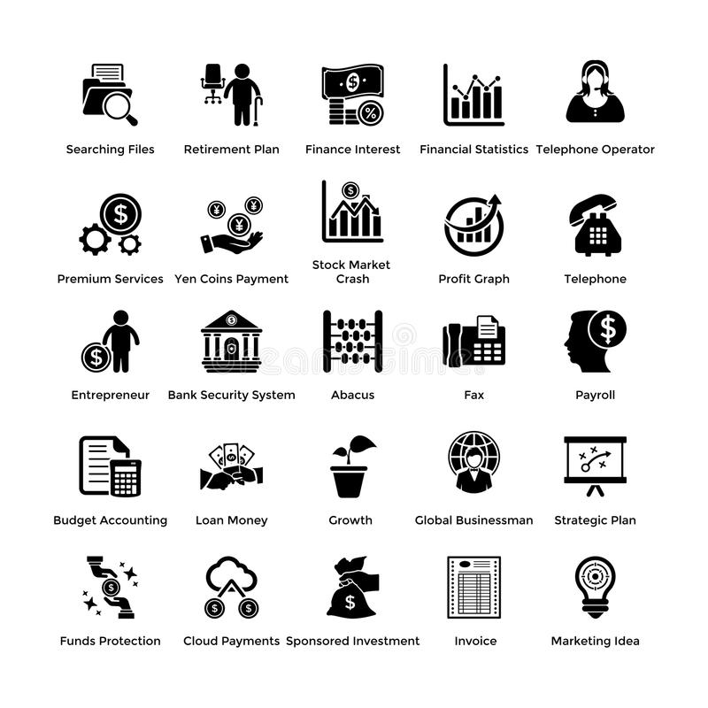 Pack Of Glyph Business and Finance Icons vector illustration