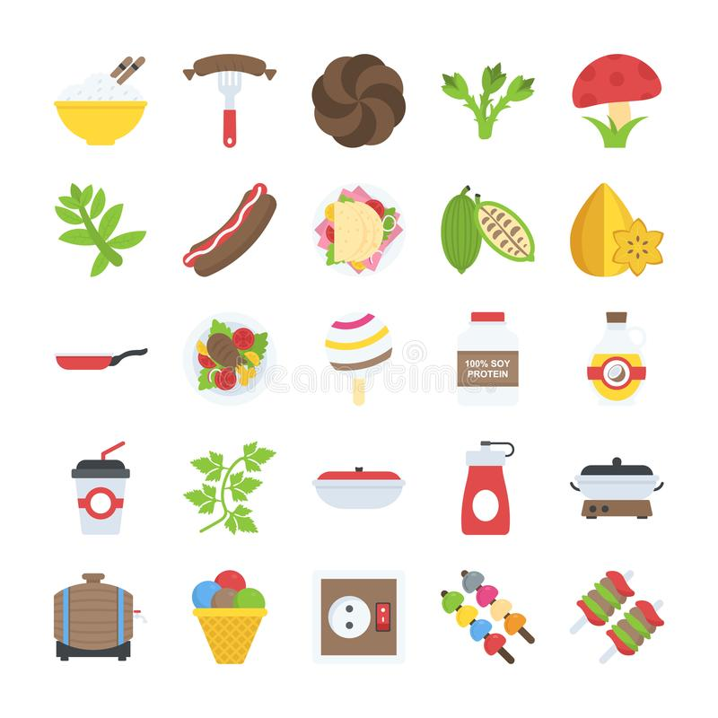 Flat Design Food and Drinks Icons Set. This pack has wide range of food and drink icons which are perfect to be used in food related industry. So, if your stock illustration