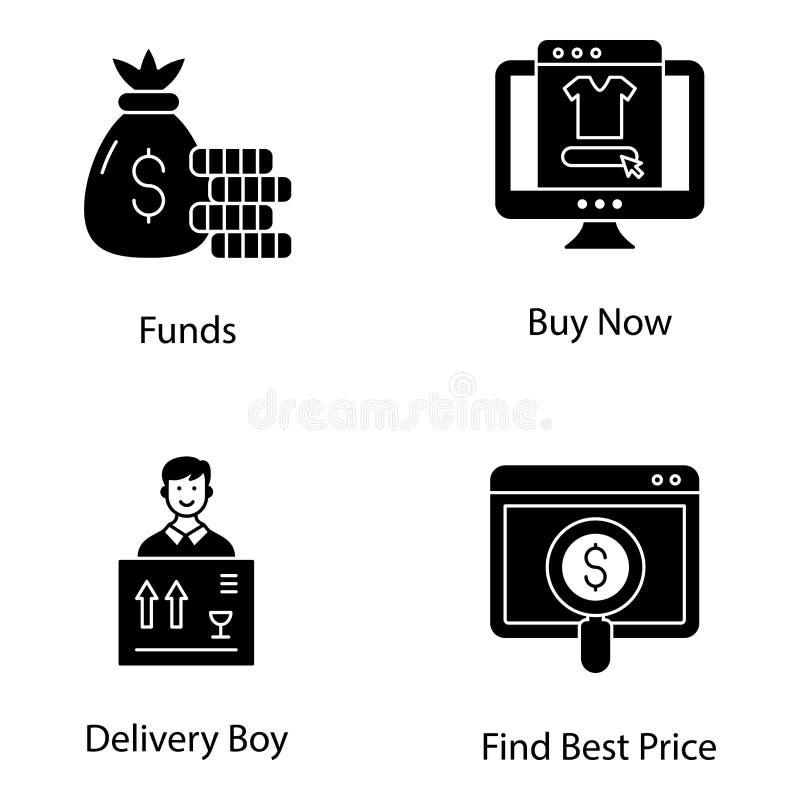 Pack Icons Glyph pour le shopping électronique illustration de vecteur