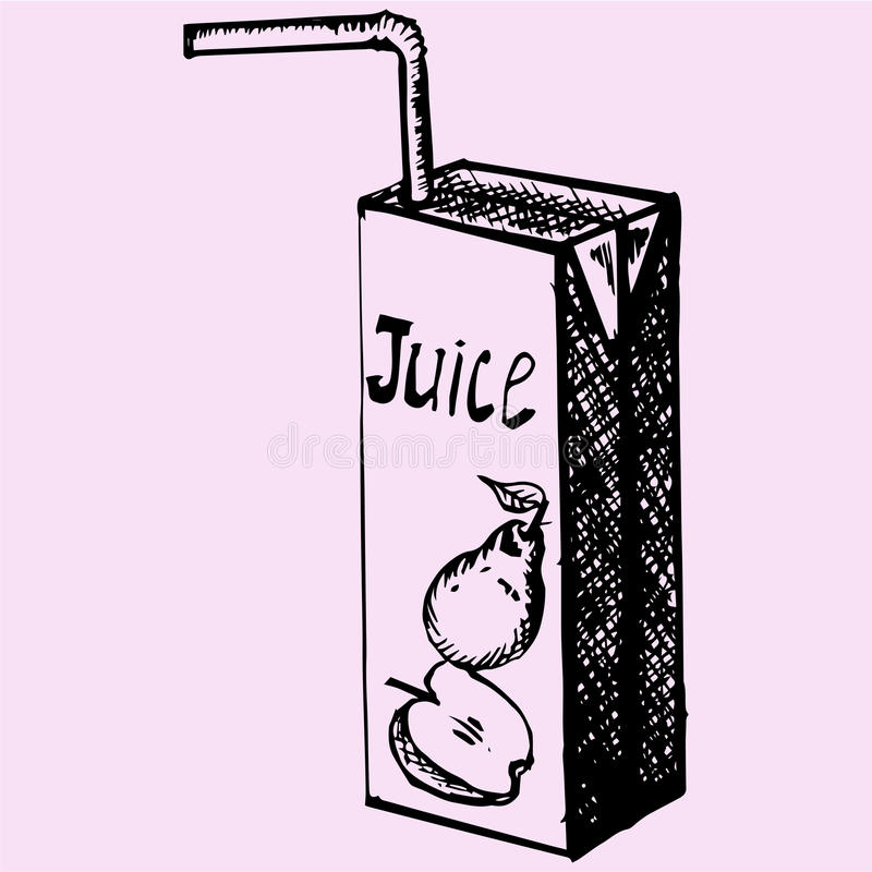 Pack of juice with drinking straw stock illustration