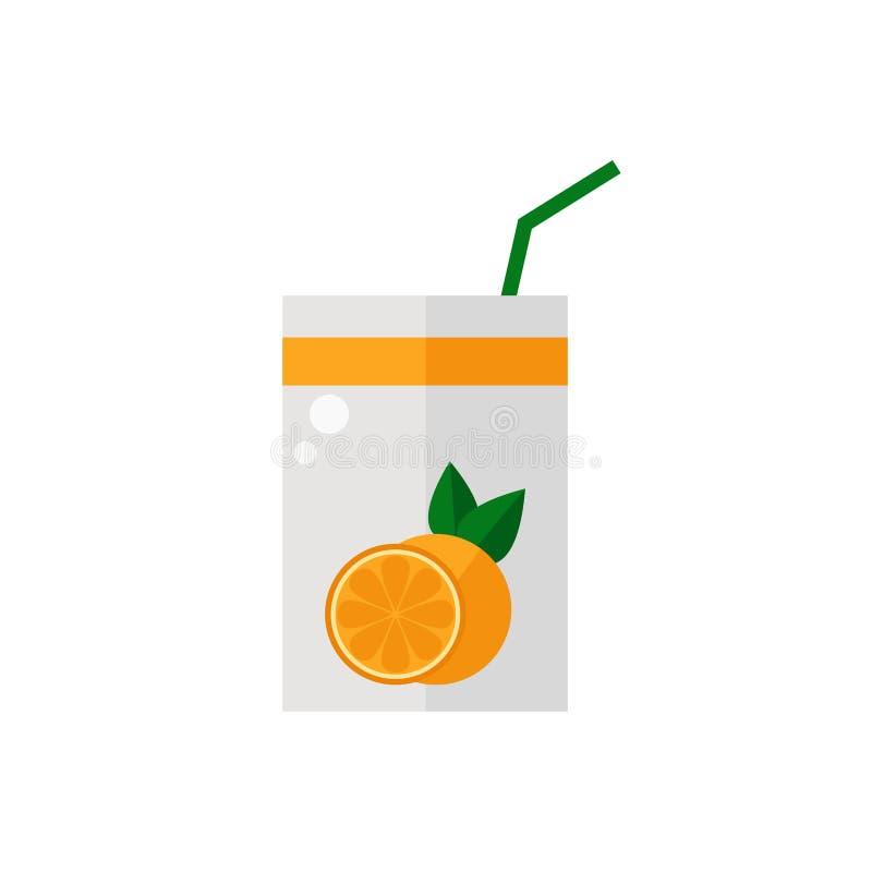 Pack of juice. Orange pack of juice icon isolated on white background. Fresh orange juice. Flat style vector illustration stock illustration