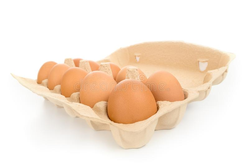 Pack of large brown hen eggs angle view isolated royalty free stock images