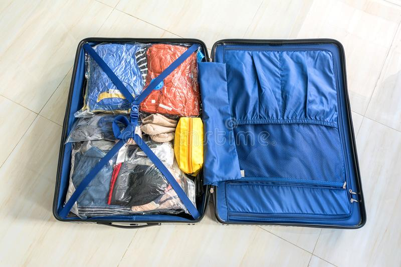 Pack the luggage bag for Save Space.  royalty free stock image