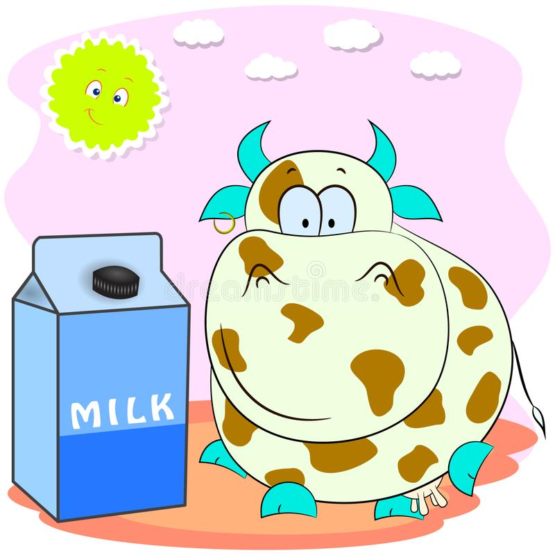 A pack of milk with spotted cow. cartoon vector illustration. vector illustration