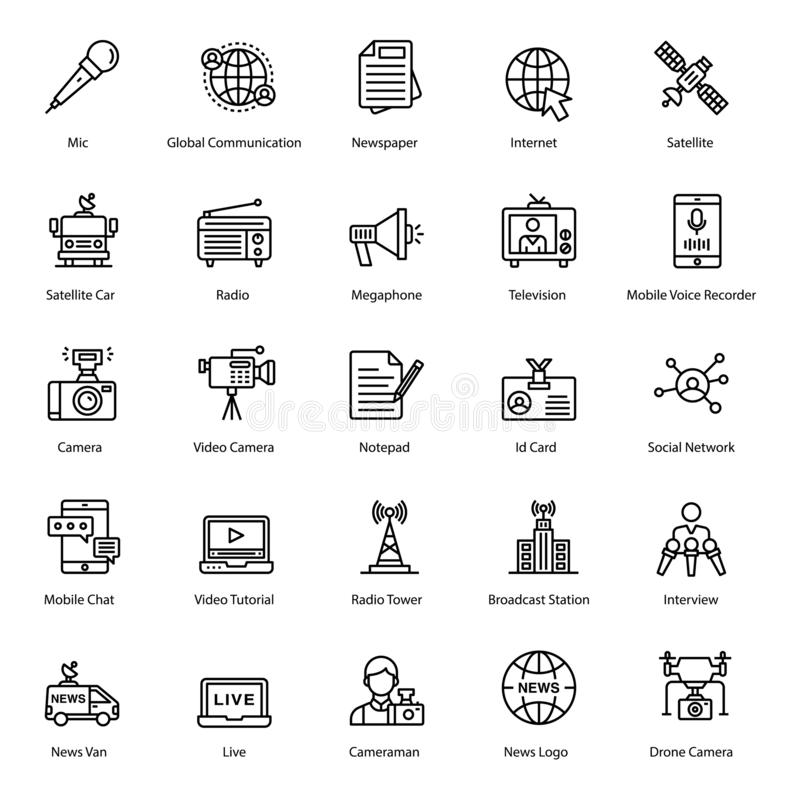 Pack of News Line icons vector illustration