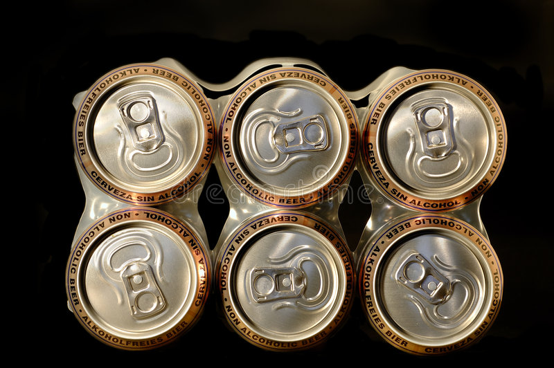 Pack non alcoholic beer cans.  royalty free stock photos