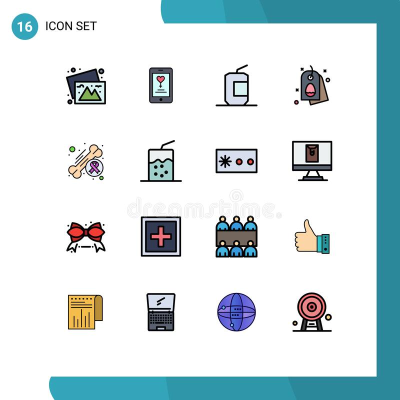 Free Pack Of 16 Modern Flat Color Filled Lines Signs And Symbols For Web Print Media Such As Awareness, Easter, Coca, Egg, Food Royalty Free Stock Photography - 177986757