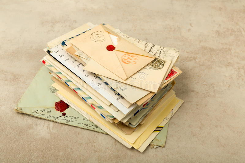 Pack of old letters stock images